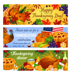 Thanksgiving day american banners vector