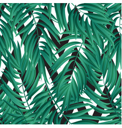 Tropical palm leaves seamless vector