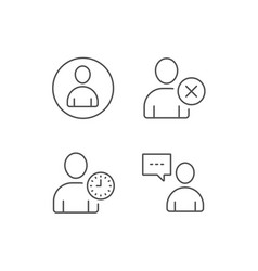 User remove profile and comments line icons vector