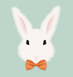 White rabbit with bow tie vector