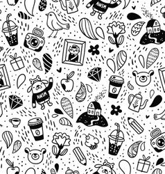 Fun doodle seamless pattern vector