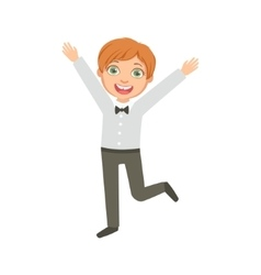 Boy in black trousers and bow tie happy schoolkid vector