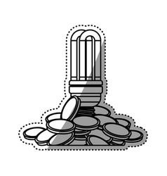 Light bulb coins fluorescent vector