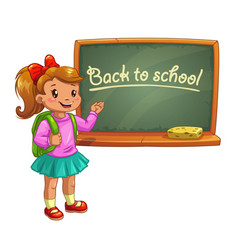 Little cute cartoon girl near school blackboard vector