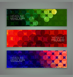 Abstract banners set design made with circles vector