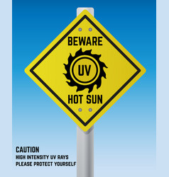 Road warning sign about sun uv radiation vector
