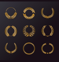 Floral decoration in form of laurel wreath icons vector