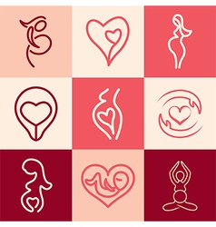 Pregnancy logo icons vector