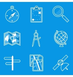 Blueprint icon set navigation vector