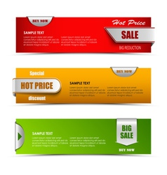 Modern horizontal banners with pointers sale vector