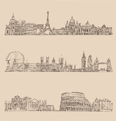 City set london paris rome vintage engraved vector