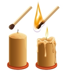 Set match and candle new and burns vector