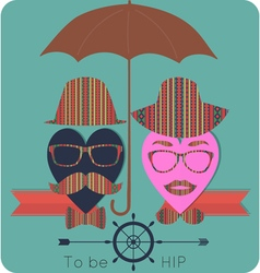 Ladies and gents love hipster summer set vector