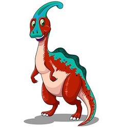 Red parasaurolophus standing on two legs vector