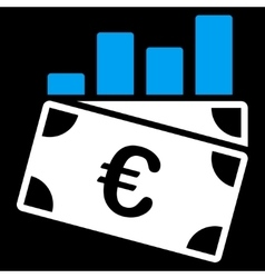 Euro sales chart icon vector