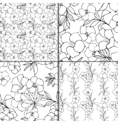 Seamless floral pattern set vector