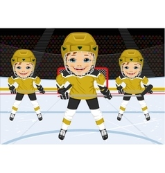 A young hockey team in uniform vector