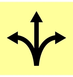 Three-way direction arrow sign vector