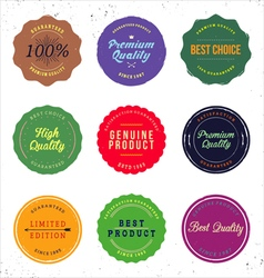 Vintage coloured brand badges vector