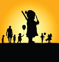 Children in nature silhouette vector