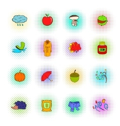 Autumn icons set pop-art style vector
