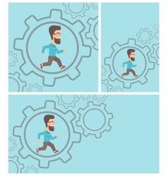 Businessman running inside the gear vector image
