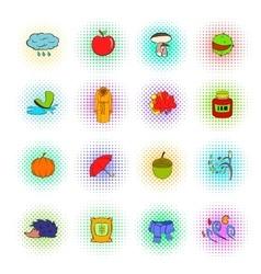 Autumn icons set pop-art style vector image