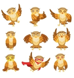 Cute brown owl emoji icon set vector