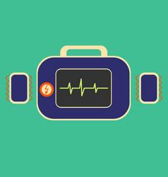 Defibrillator in flat vector