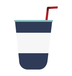 disposable cup with straw icon vector image vector image