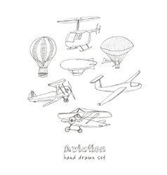 Doodle aviation set vintage for vector