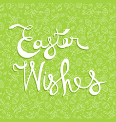 easter greeting card quote on doodle background vector image vector image