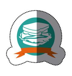 Emblem sandwich fast food icon vector