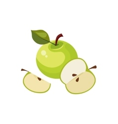 Green Apple Breakfast Food Element Isolated Icon vector image vector image