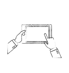 Hands holding tablet technology device vector