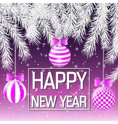 Happy new year silver spruce branches pink vector