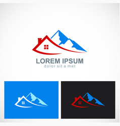 House mountain travel logo vector