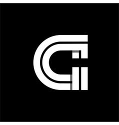 Letter C wide white stripes Logo monogram emblem vector image