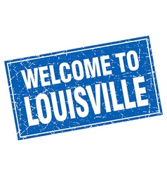 Louisville blue square grunge welcome to stamp vector