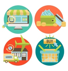 Online shopping business icons set vector