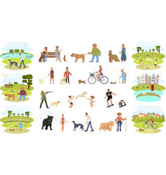 People walking with dogs vector