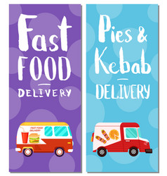 Pies kebab and fast food delivery flyers vector