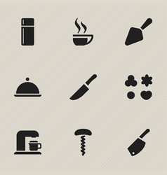 set of 9 editable cooking icons includes symbols vector image