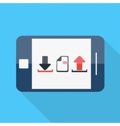 Smartphone flat design download upload icon vector