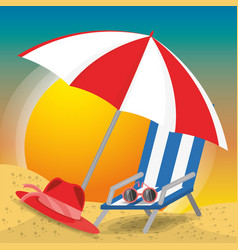 Summer umbrella sun glasses chair and hat over vector