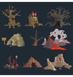 Swamp Tree and Cave Game Set vector image