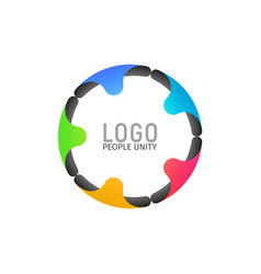 Tight ring of people isolated logotype five vector