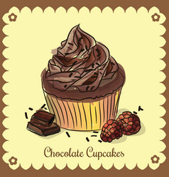Vintage card chocolate cupcakes vector