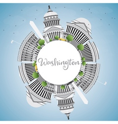 Washington DC Skyline with Gray Buildings vector image vector image