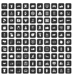 100 hand icons set black vector